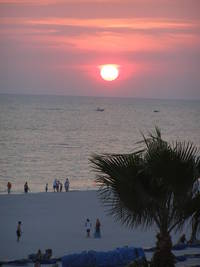 Sunset seen from a balcony in theTradewinds Island Grand Hotel